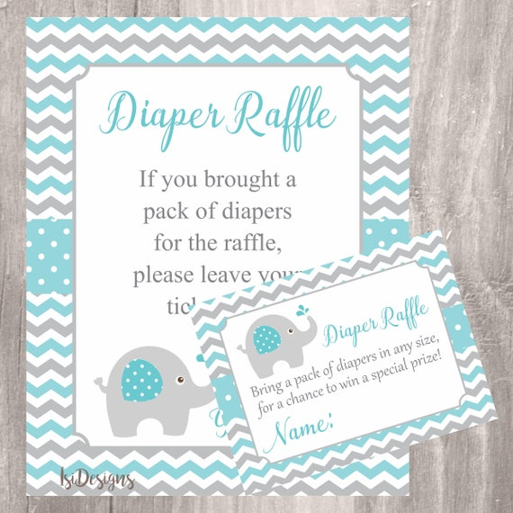 Teal Elephant Baby Shower Diaper Raffle Tickets And Sign Elephant Diaper Raffle Instant Download Printable Game Neutral Baby Shower