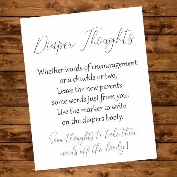 Diaper Thoughts Calligraphy Printable Diapers Game Instant