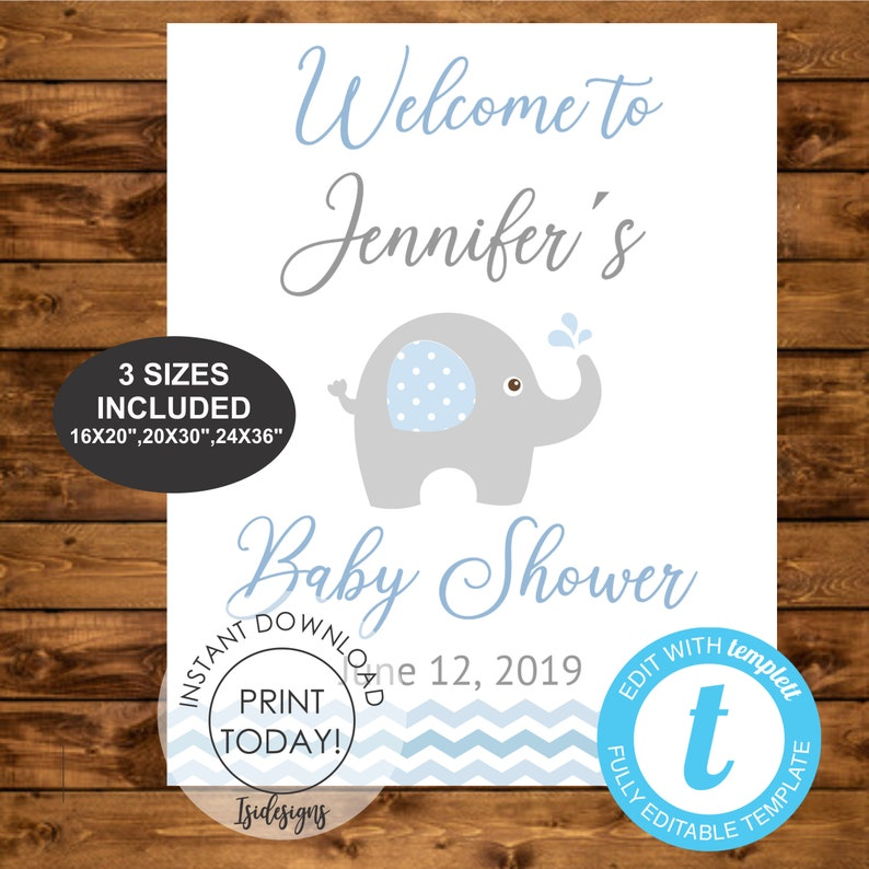 printable baby shower decoration baby blue elephant editable sign INSTANT DOWNLOAD Blue elephant editable welcome sign