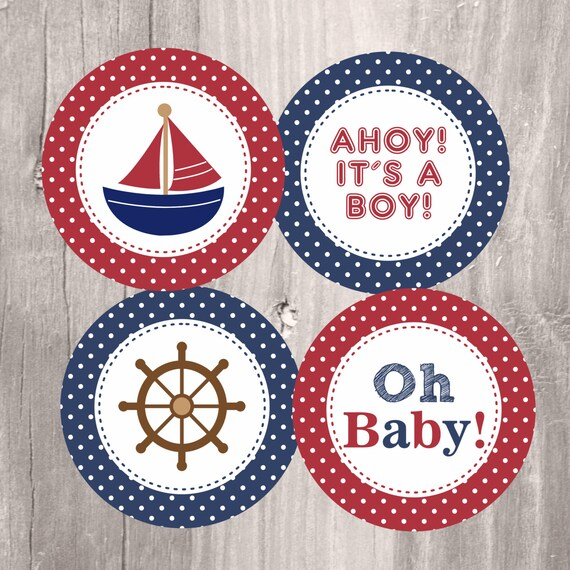 Nautical Baby Shower Printable Centerpieces Navy And Red Boy Etsy
