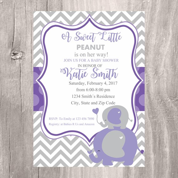Elephant Baby Shower Invite Printable Purple And Grey Baby Shower