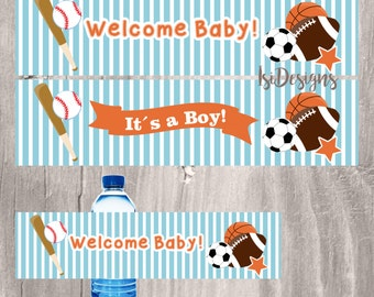 Sports Water Bottle Labels, Printable Baby Blue Sports Themed Baby Shower Boy Water Bottle Labels, Instant Download Baby Shower Favors