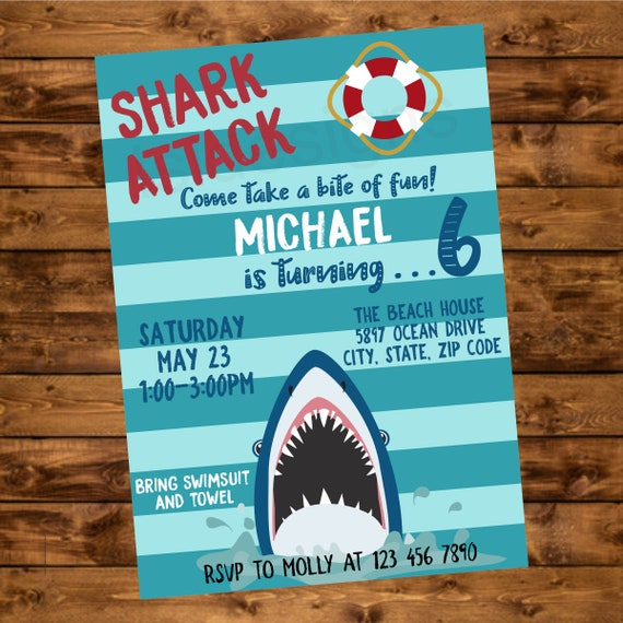 Shark Attack Birthday Party Invitation Invite Pool Printable Kids