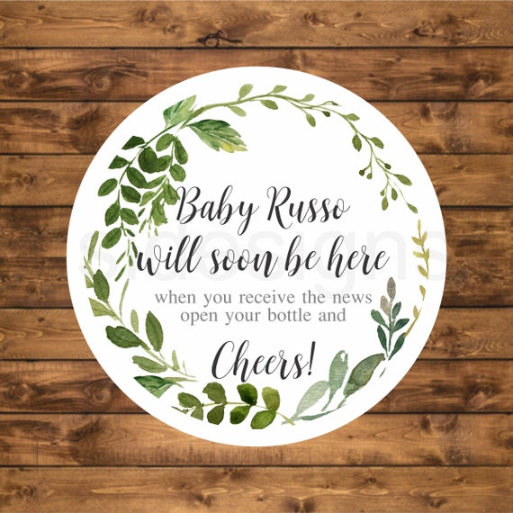 Greenery Baby Shower Tag Personalized Wreath Tag Printable Baby