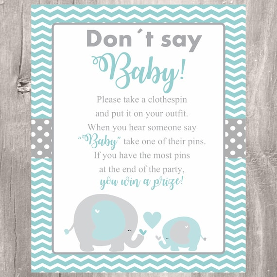 graphic regarding Free Don't Say Baby Printable called Elephant Dont Say Child Indication, Little one Shower Activity, Printable