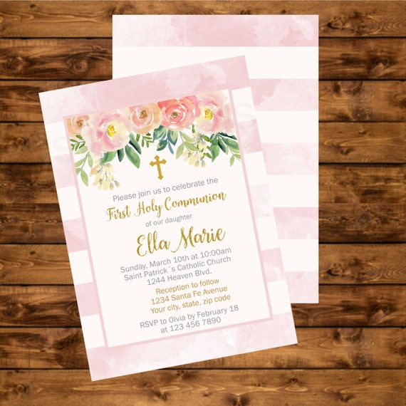 image about Printable First Communion Invitations known as Initial Communion Invitation, Baptism, Printable Spiritual