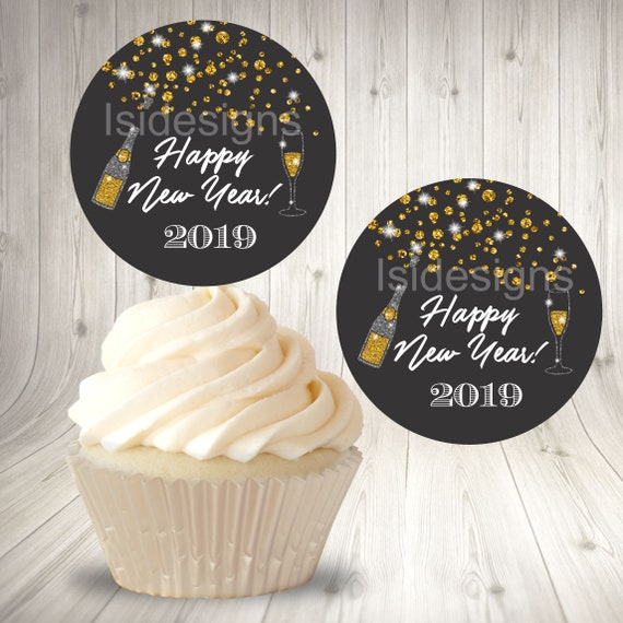 New Year Cupcake Toppers Printable Happy New Year 2019 Instant