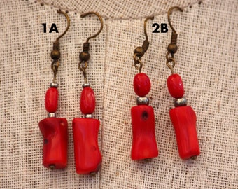 2ab7e0b58 Red Coral on Antiqued Bronze Ear Wires. Dangle Earrings!