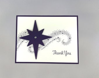Hand Stamped Thank You Card - Thank You Card -  Handmade Thank You Card - Purple Stardust Card - Stampin' Up! Star Thank You Card