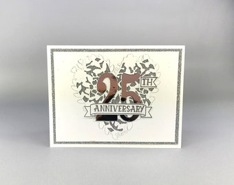 25th Wedding Anniversary Card - Silver Anniversary Card - Hand Stamped Card - Stampin' Up! Greeting Card - Handmade Anniversary Card
