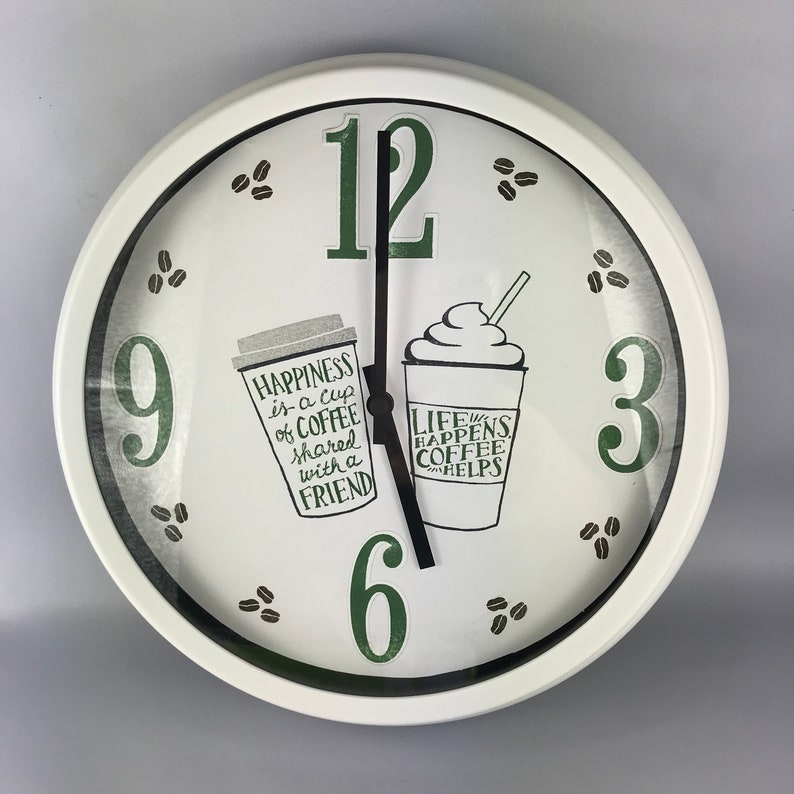 Customized Stamped Wall Hanging Coffee Clock image 0