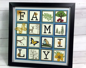 Family Sampler - Home Decor - Wall Art - Stampin' Up! Paper Sampler - Hand Stamped Home Decor - Wall Hanging - Frame with Art - Wall Display