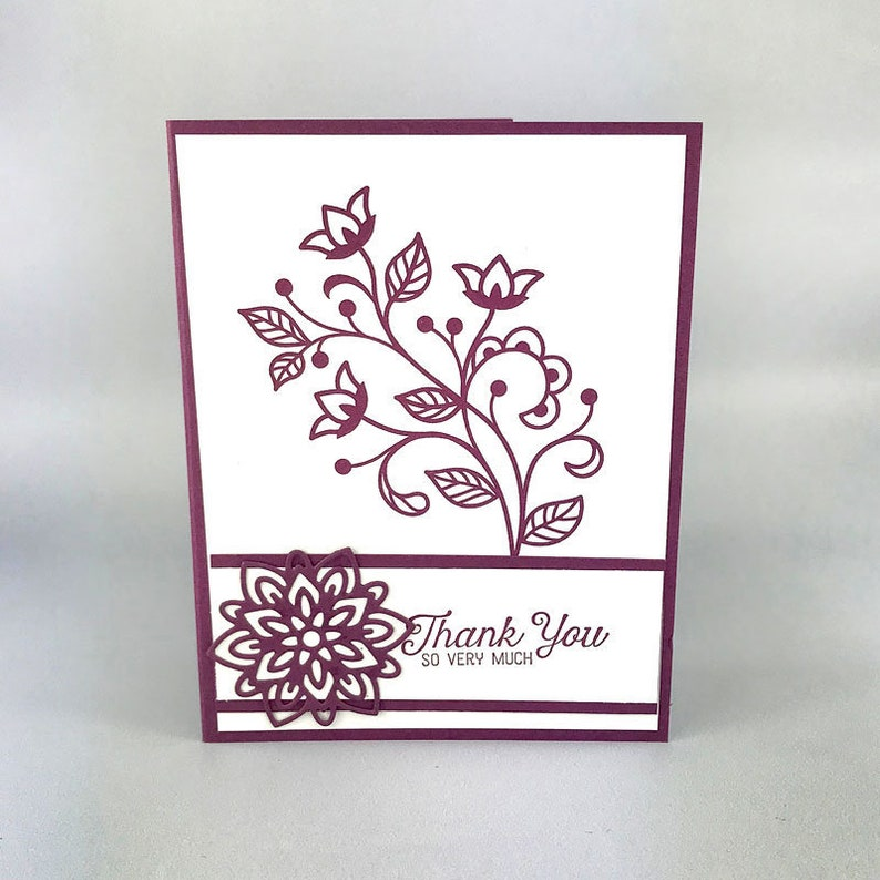 Hand Stamped Stampin' Up Thank You Card image 0