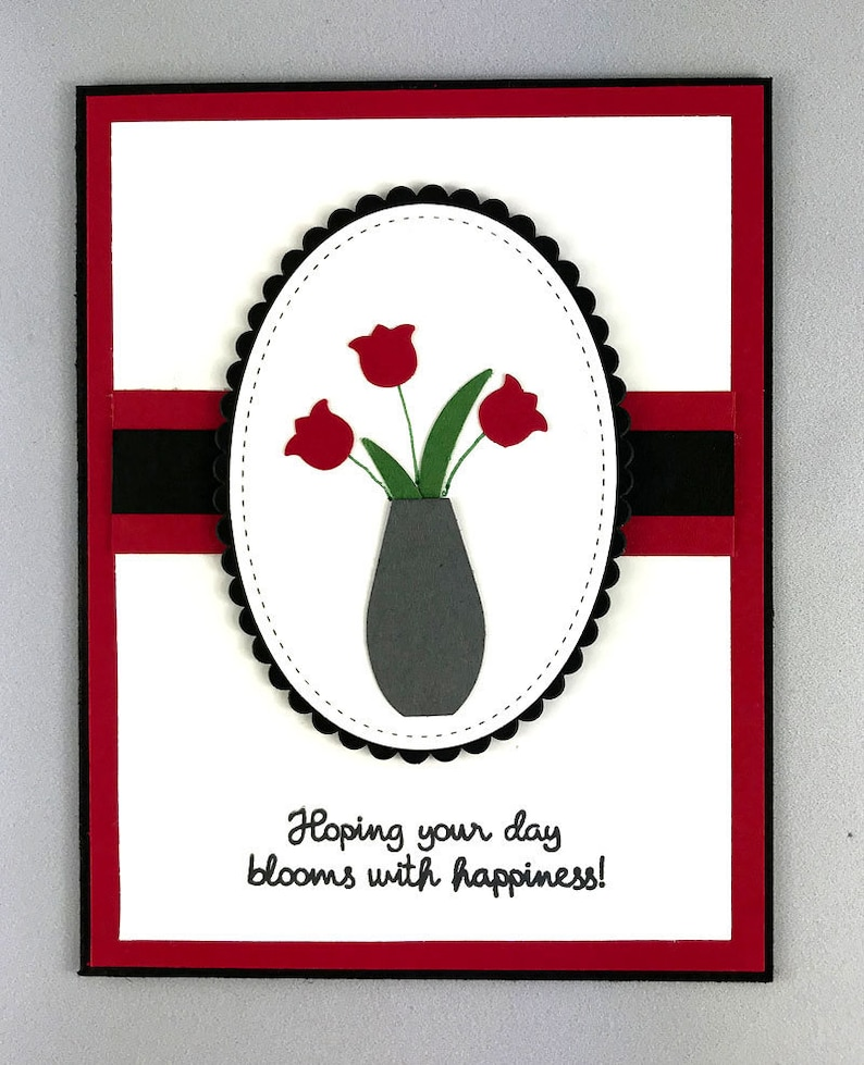 Hand Stamped Stampin Up Tulips Birthday Card image 0