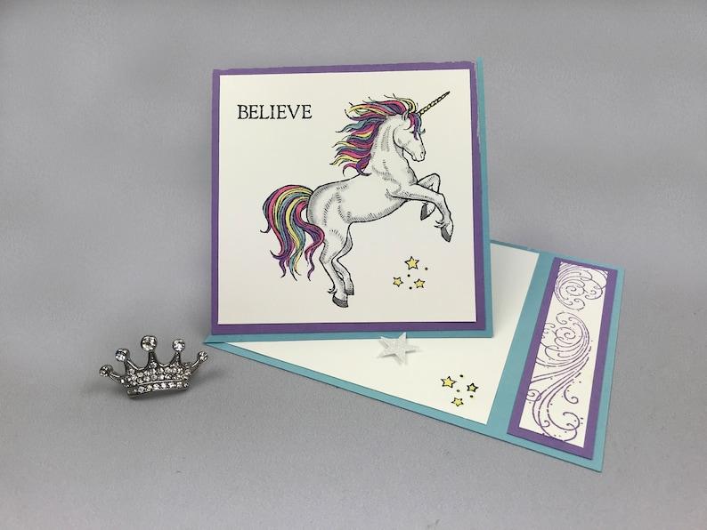 Handstamped Rainbow Unicorn Easel Birthday Card image 0