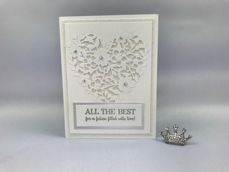 Handmade White Glitter Wedding Card image 0