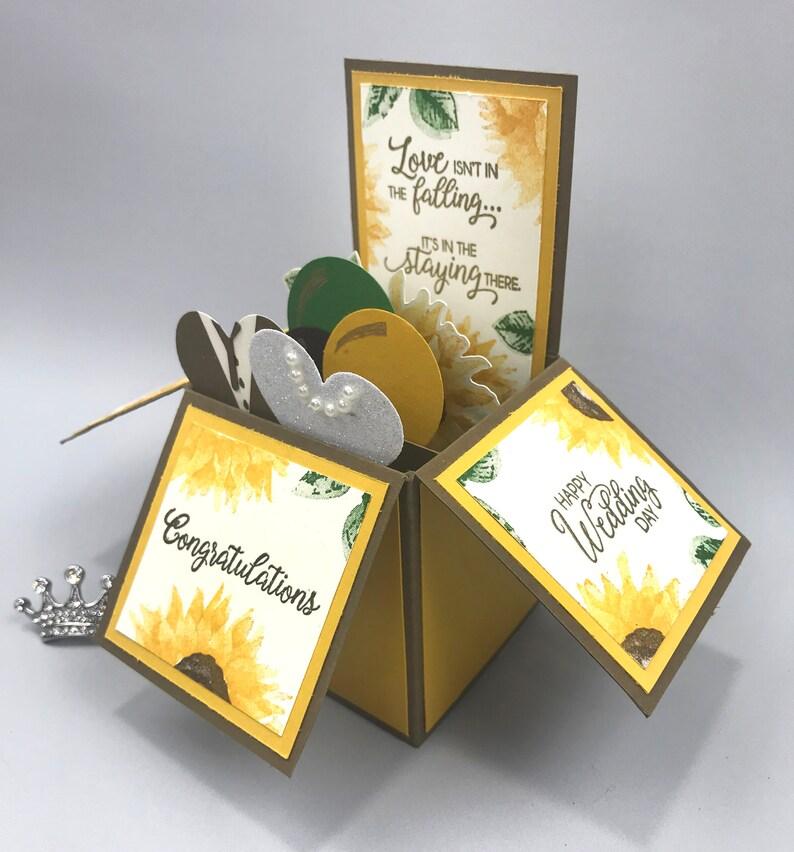 Handmade Sunflower Wedding Pop Up Explosion Box Card image 0
