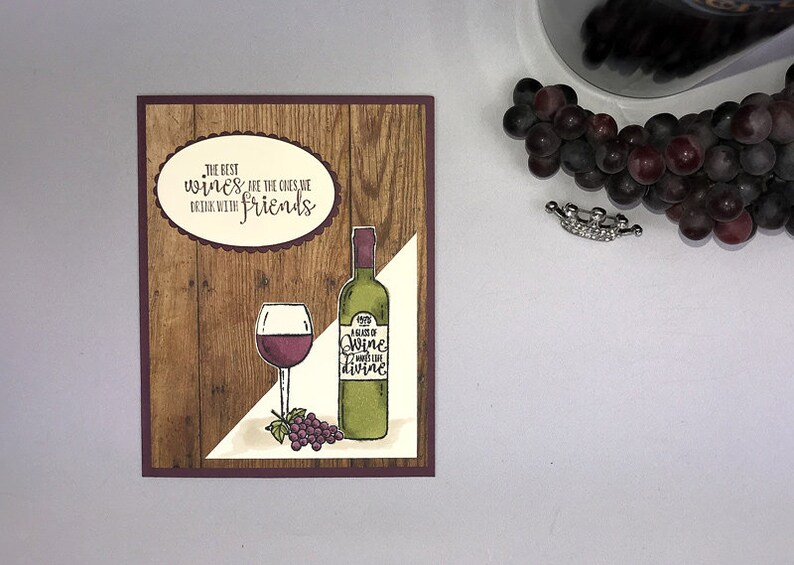Hand Stamped Wine Greeting Card image 0