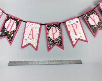 Happy Birthday Banner - Girls Birthday Banner - Pink, White & Black Birthay Banner - Girls Birthday Decorations - Stampin' Up!