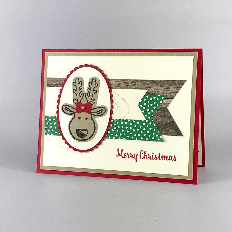 Hand Stamped Reindeer Christmas Card image 0
