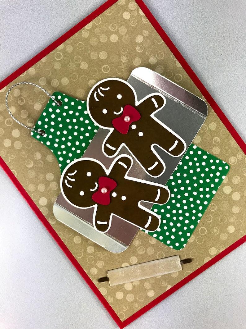 Handmade Gingerbread Men Christmas Card image 0