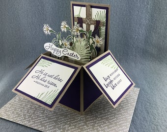 Christian Easter Pop Up Card - Handmade Easter Explosion Box - Happy Easter Card - He is Risen Card in a Box - Stampin' Up! Easter Card