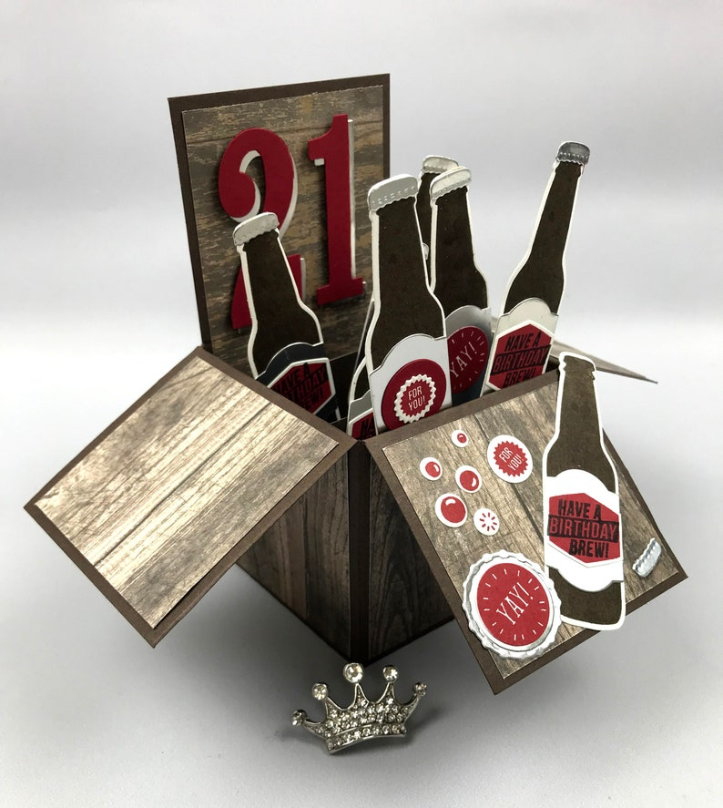 Handmade 21st Birthday Beer Bottles Pop Up Explosion Box Card image 0