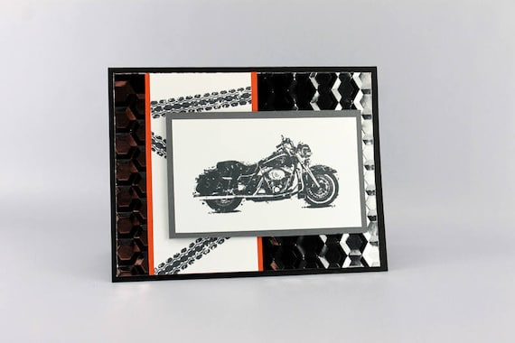 Hand Stamped Motorcycle Birthday Card Masculine Motorcycle Etsy
