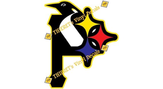 Pittsburgh Sports Teams Tri Logo Vinyl Car Decal Laptop