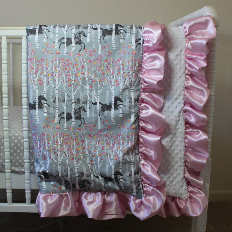 blanket 35 x 41 ruffled baby blanket western pony girl baby equestrian horses, cowgirl Watercolor Ponies white minky dimple dot