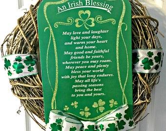 Irish Wreath, Saint Patrick Wreath, St Patrick's Wreath, Shamrock Wreath, Irish Blessing Door, Irish Door Hanger, St Patrick's Day, Blessing