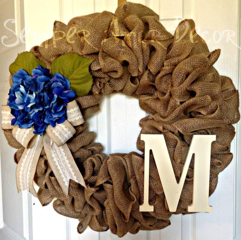 Country Wreath Monogram Burlap Wreath Rustic Wreath Lace Burlap Initial Wreath White And Navy Burlap Wreath Hydrangea Burlap Wreath