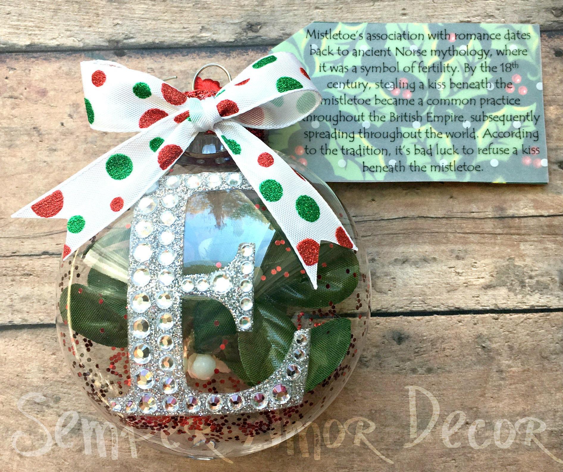 Initial Ornament Mistletoe Ornament Custom Ornaments Red | Etsy