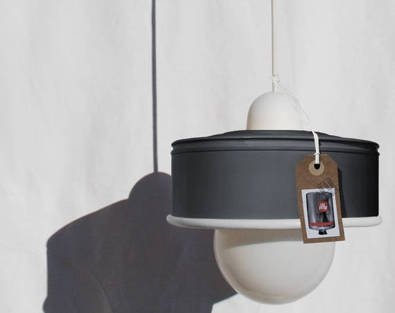 Hanging / pendant / ceiling lamp charcoal mat grey ... eco-friendly handmade :recycled from coffee can! LED light bulb included