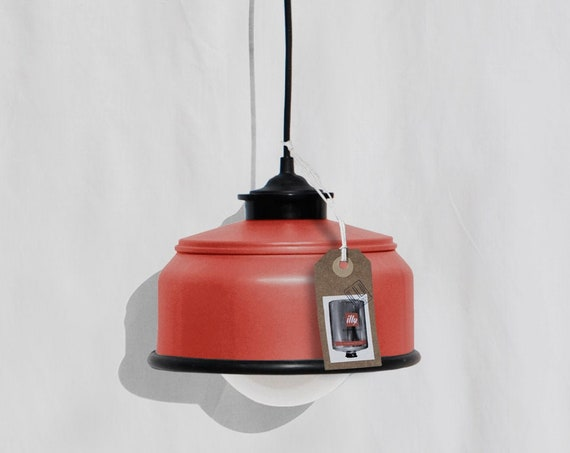 Ceiling lamp , coral red and black details ,  eco friendly - handmade : recycled from  coffee can !