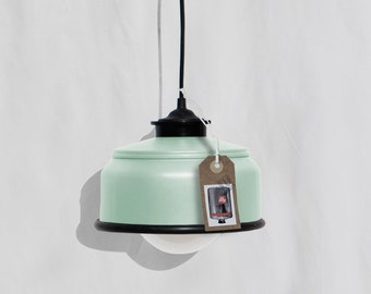 Hanging / ceiling lamp, mint color and black details... eco friendly: recycled from coffee can ! LED light bulb included .Also for US and UK