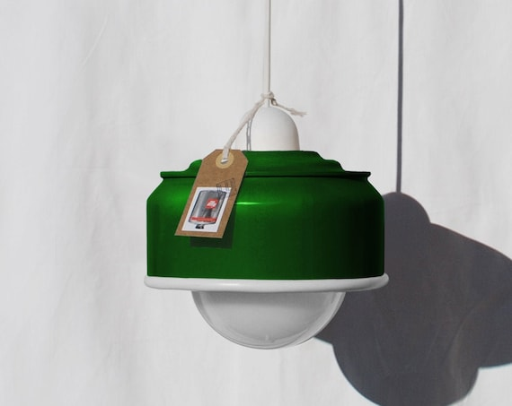 Hanging / ceiling lamp bottle green color and white details... eco friendly & handmade : recycled from  coffee can ! LED light bulb included