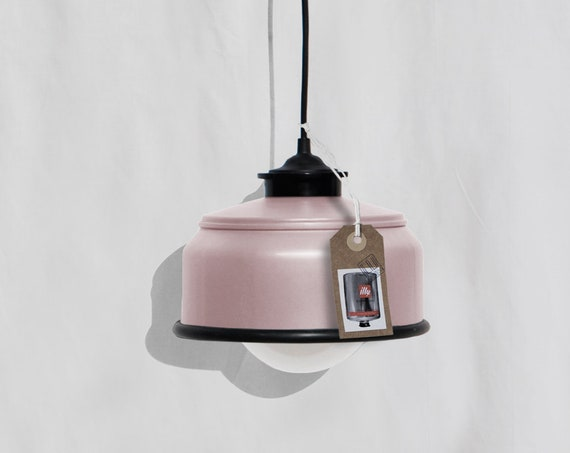 Ceiling lamp , pastel  pink and black details ,  eco friendly - handmade : recycled from  coffee can !