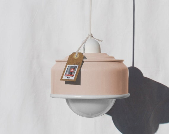 Ceiling lamp light peach pink,  eco friendly - handmade : recycled from  coffee can !