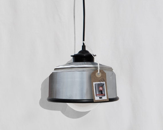 Hanging / ceiling lamp nikel / silver color  and black details... eco friendly & handmade : recycled from coffee can ! Light bulb included