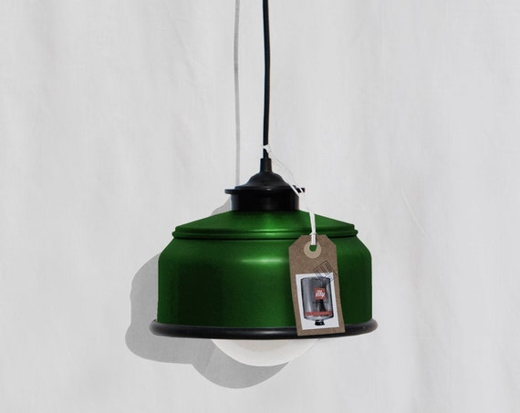 Hanging / ceiling lamp bottle green color and black details... eco friendly & handmade : recycled from  coffee can ! LED light bulb included
