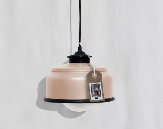Hanging / pendant / ceiling lamp, light pastel peach / salmon and black details ... eco friendly & handmade : recycled from  coffee can !