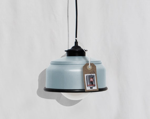 Hanging / ceiling lamp, pastel blue color and black details... eco friendly & handmade : recycled from  coffee can ! LED light bulb included