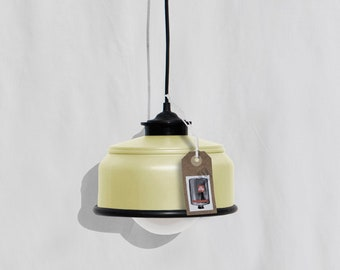 Hanging / ceiling lamp, pastel yellow and black details... eco friendly: recycled from coffee can ! Light bulb included .Also for US and UK