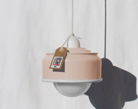 Hanging / pendant / ceiling lamp, light pastel peach / salmon and white details ... eco friendly & handmade : recycled from  coffee can !
