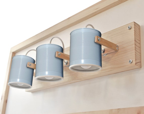 Wall lamp/ sconce / fixture light directable, pastel blue, eco friendly and handmade: recycled from tomato can !Choose any color in our shop