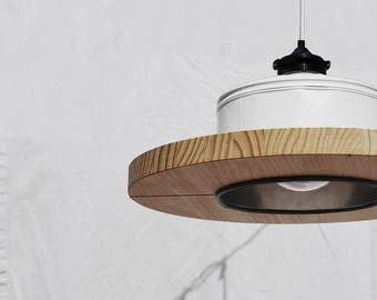 Hanging / Ceiling lamp / Pendant light,  mat white + black details.... ECO - friendly: recyled from big coffe can !