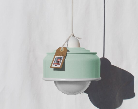Hanging / pendant / ceiling lamp, mint color ... eco friendly & handmade : recycled from  coffee can ! LED light bulb included also for US !