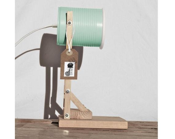 Desk lamp , pastel mint green / aquamarine ...eco friendly: handmade, recycled from tomato can! Euro, UK, US or Australia plug - LED light