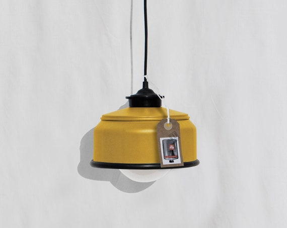 Hanging / pendant / ceiling lamp , mustard color ... eco friendly & handmade : recycled from  coffee can ! LED light bulb included